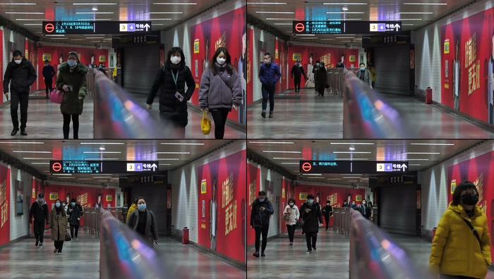 地铁换乘过道人流戴口罩视频素材