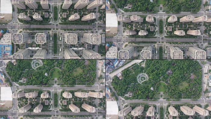航拍俯拍武汉城市中央商务区视频素材