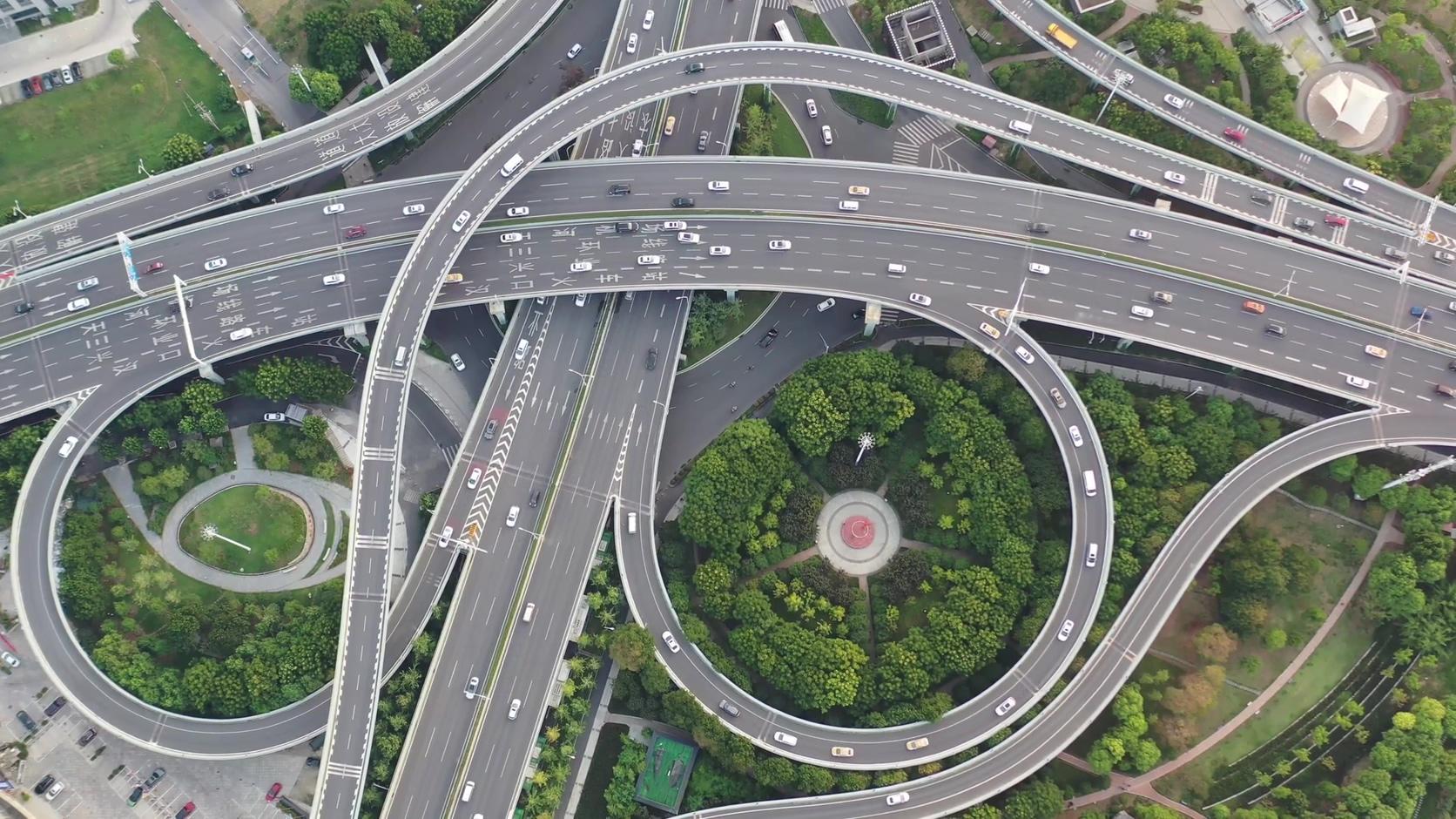 武汉城市错综复杂的立交桥高清4K视频素材