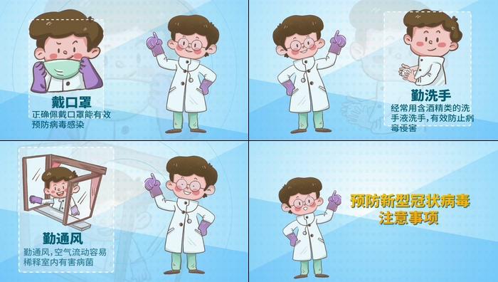 预防新型冠状病毒注意事项科普视频素材