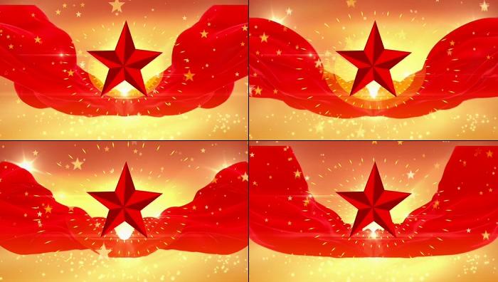 红绸五角星视频素材