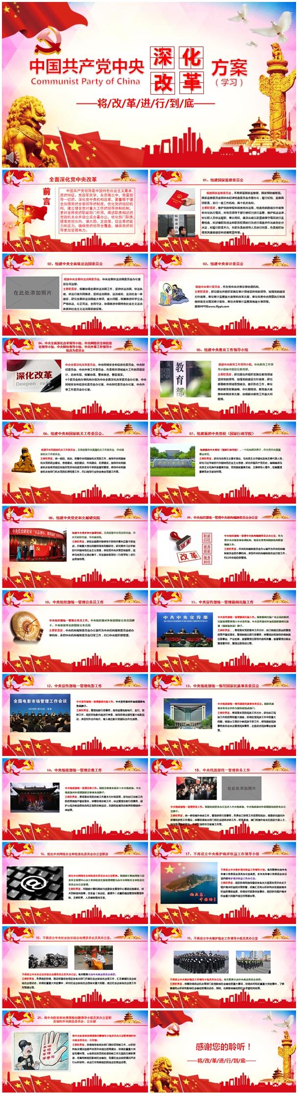 全面深化党中央改革方案学习文稿ppt模板